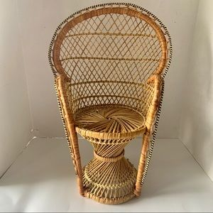 "Vintage Wicker 17"" Boho Chic Miniature Fan Chair"